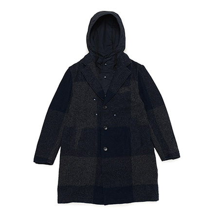 Chester Coat-Big Plaid Melton-Dk.Navy×Grey