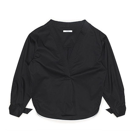 O-Ring Cuffs Blouse-Black