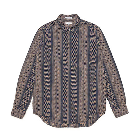 Short Collar Shirt-Multi St.Jacquard-Khaki×Navy