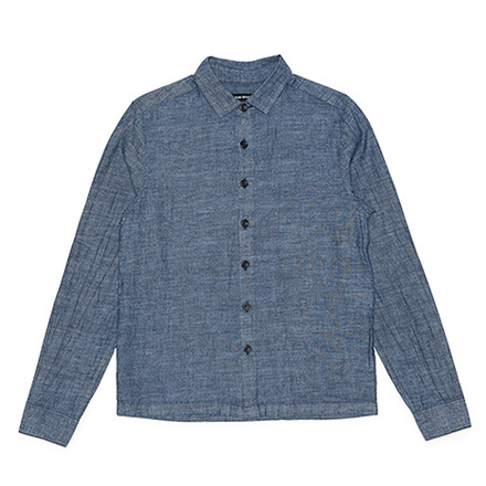 Flat Hem Shirt-Organic Cotton×Hemp Blend-Indigo