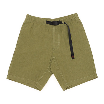 Cotton Linen Zipper Shorts-Olive