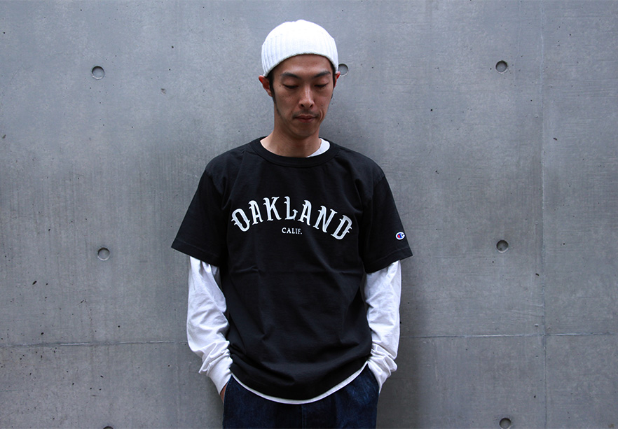 LOFTMAN別注 Printed T-Oakland-Black