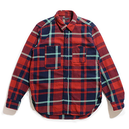 Work Shirt-Heavy Twill Plaid-Red×Navy×Teal