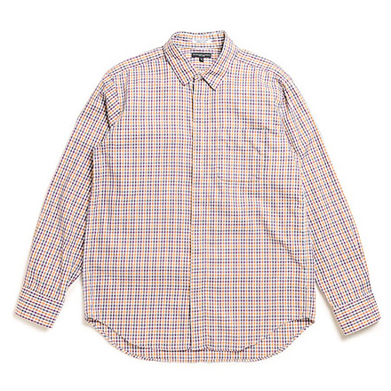 Short Collar Shirt-Tattersall Check-Yellow×Maroon