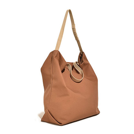 Carry All Tote with Snap Button-Brown