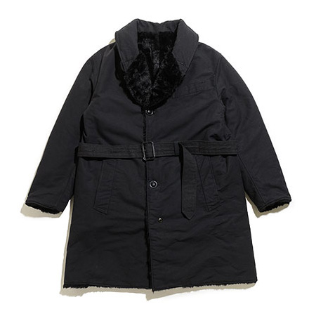 Shawl Collar Reversible Coat-Fur-Black&Black