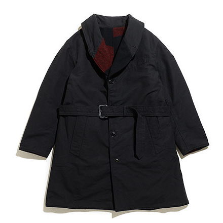 Shawl Collar Reversible Coat-Plaid-Black&Black