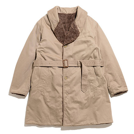 Shawl Collar Reversible Coat-Chino Twill-Khaki