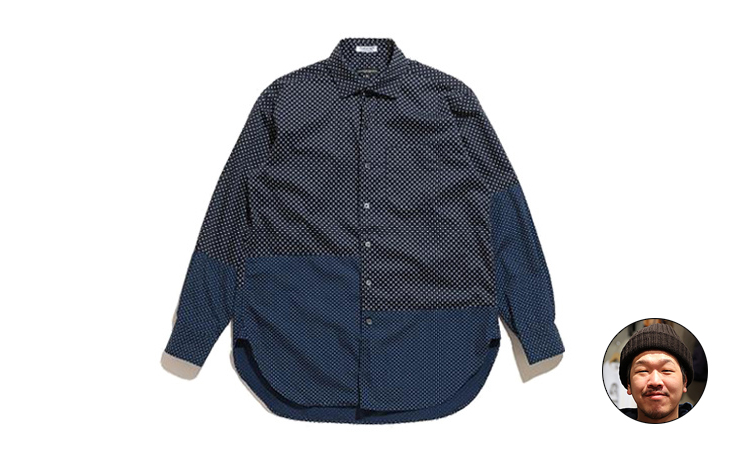 Spread Collar Shirt-Polka Dot Broadcloth-Navy Big