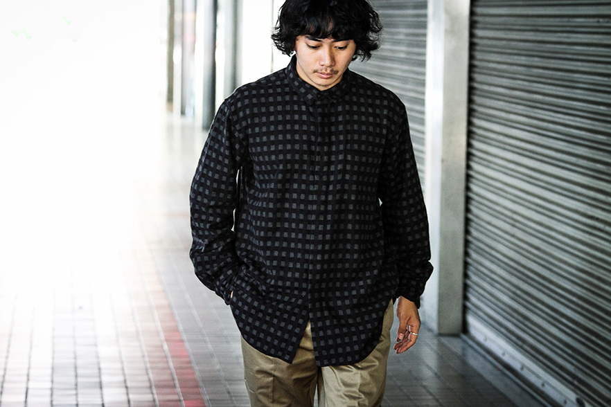 Short Collar Shirt-Vintage Check-Black×Brown